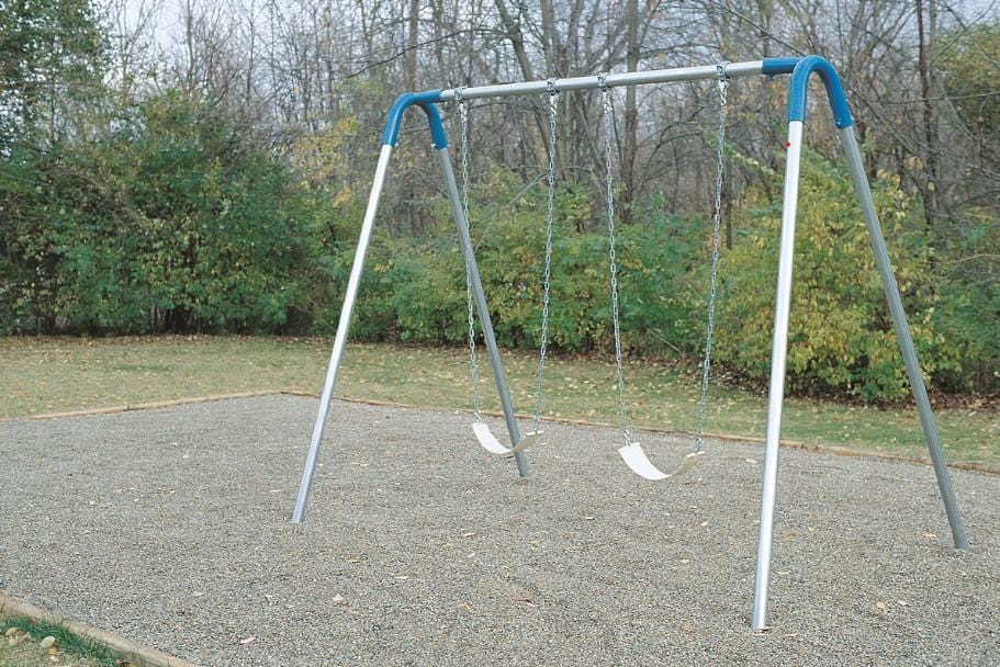 Single Bay Commercial Bipod Swing Set with Strap Seats and Blue Yokes