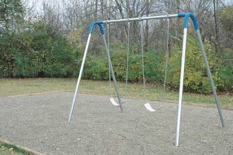 Image of Single Bay Commercial Bipod Swing Set with Strap Seats and Blue Yokes