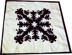 Navy and White Hibicus Quilt Pattern