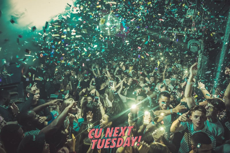 full dancefloor confetti brighton sussex students bhasvic college party dancing nightclub midweek donuts pizza free food best places to go