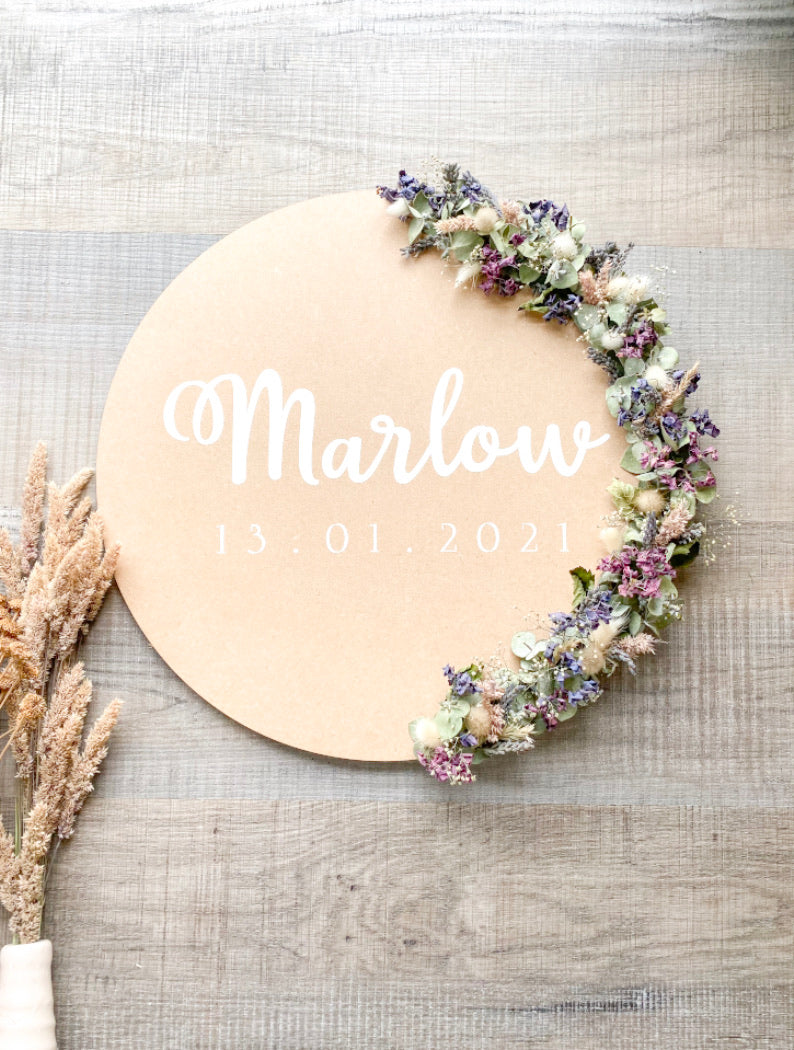 Customised Name Plaque - Dried Florals