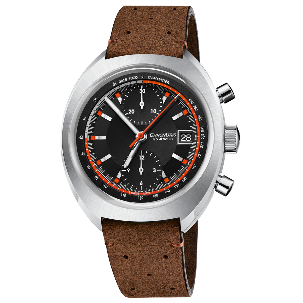 Oris Chronoris Chronograph Black Dial Vintage Brown Leather strap