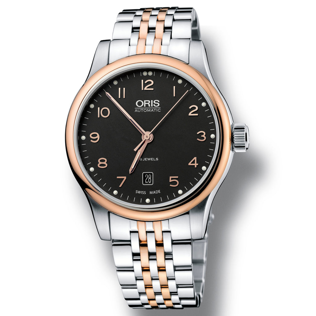 Oris Classic Black Dial Two Tone ( steel & rose gold ) bracelet watch
