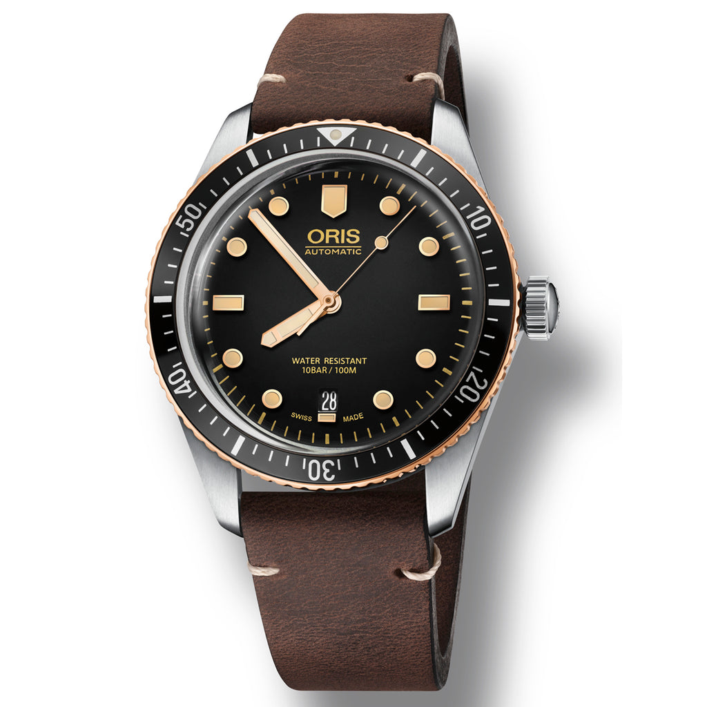 Oris Divers Sixty Five - Black Dial Brown Leather strap watch