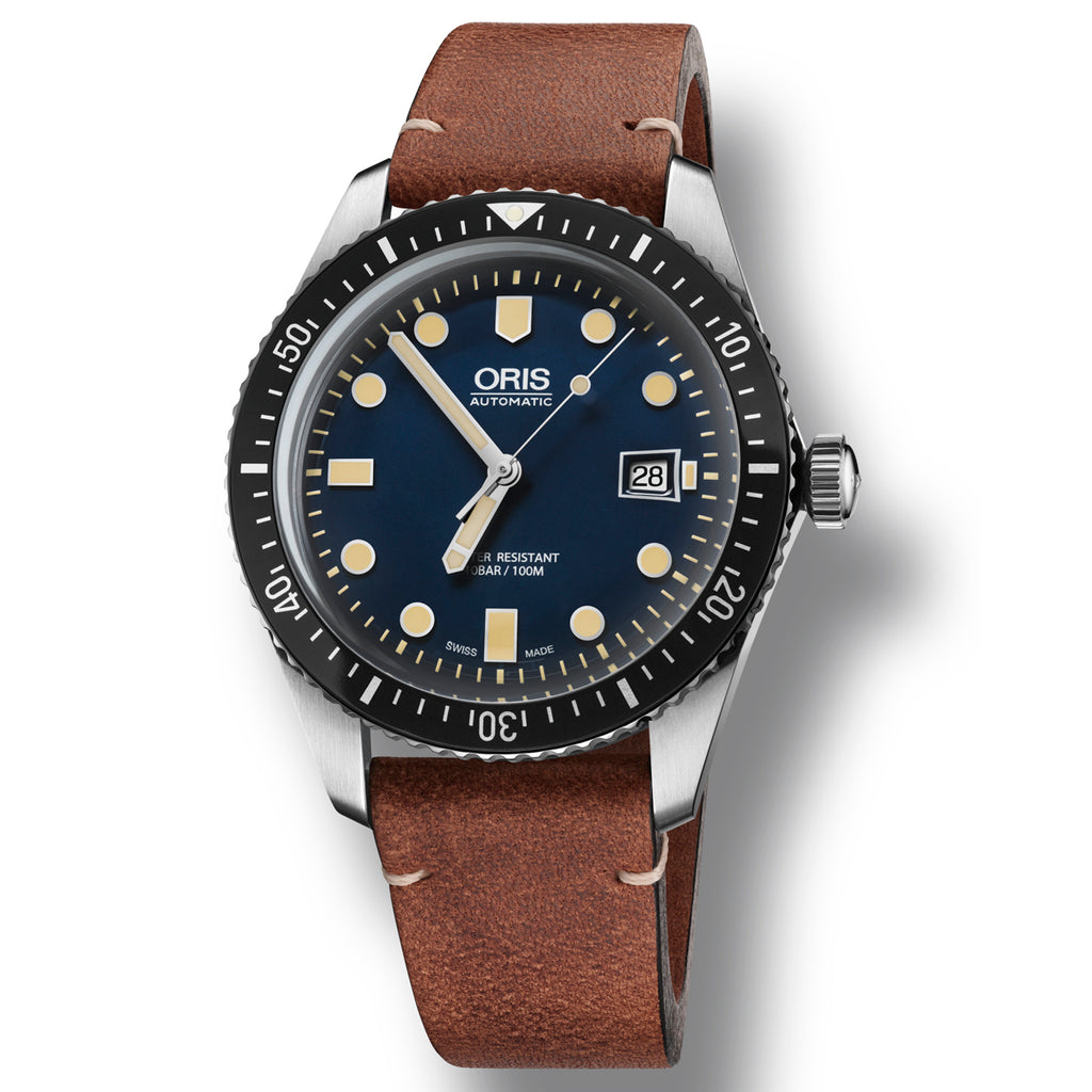 Oris Divers Sixty Five - Blue Dial Brown Vintage Leather watch
