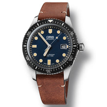 Load image into Gallery viewer, Oris Divers Sixty Five - Blue Dial Brown Vintage Leather watch