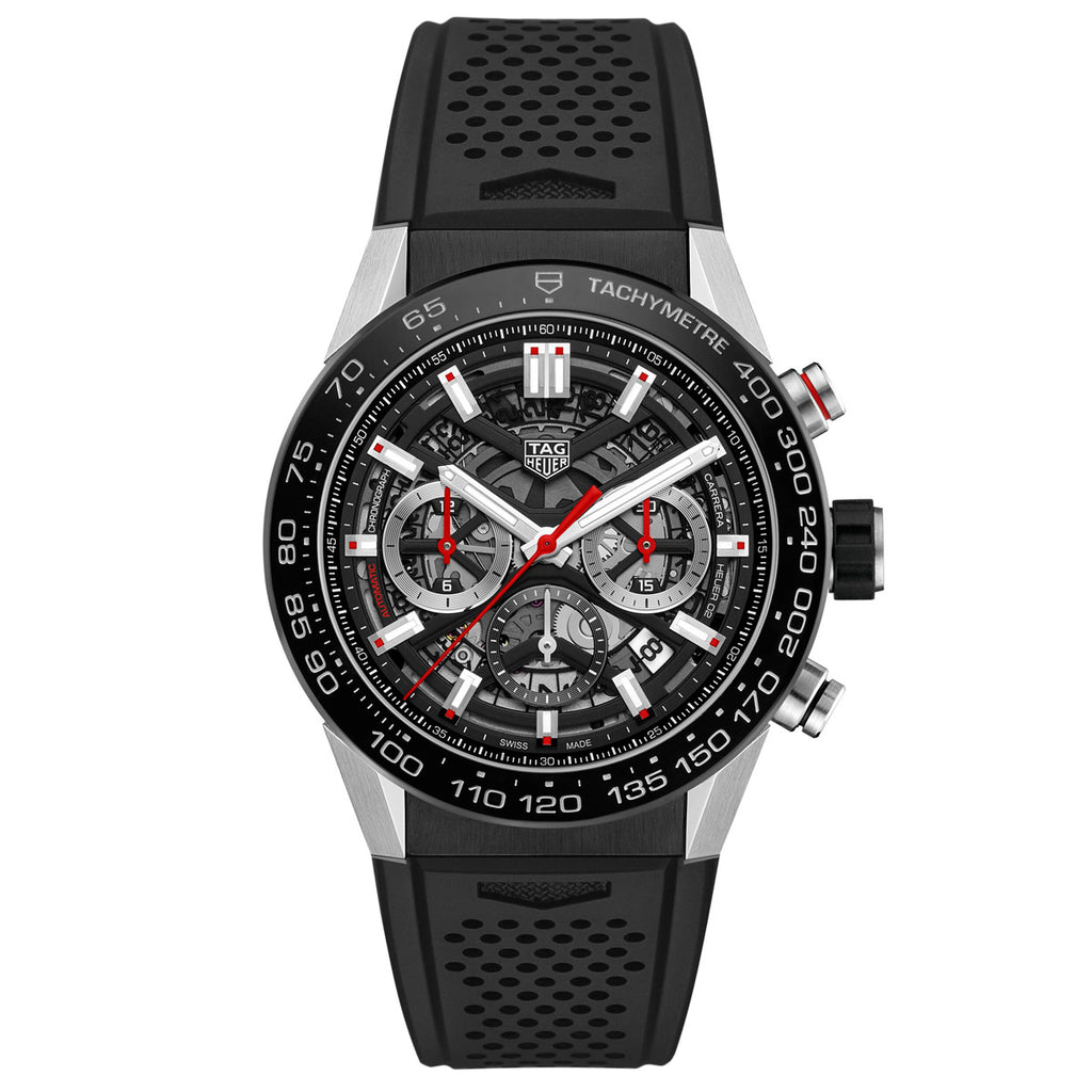 Tag Heuer - Carrera 45mm Automatic Chronograph - Ceramic Bezel - Rubber Strap - CBG2A10.FT6168