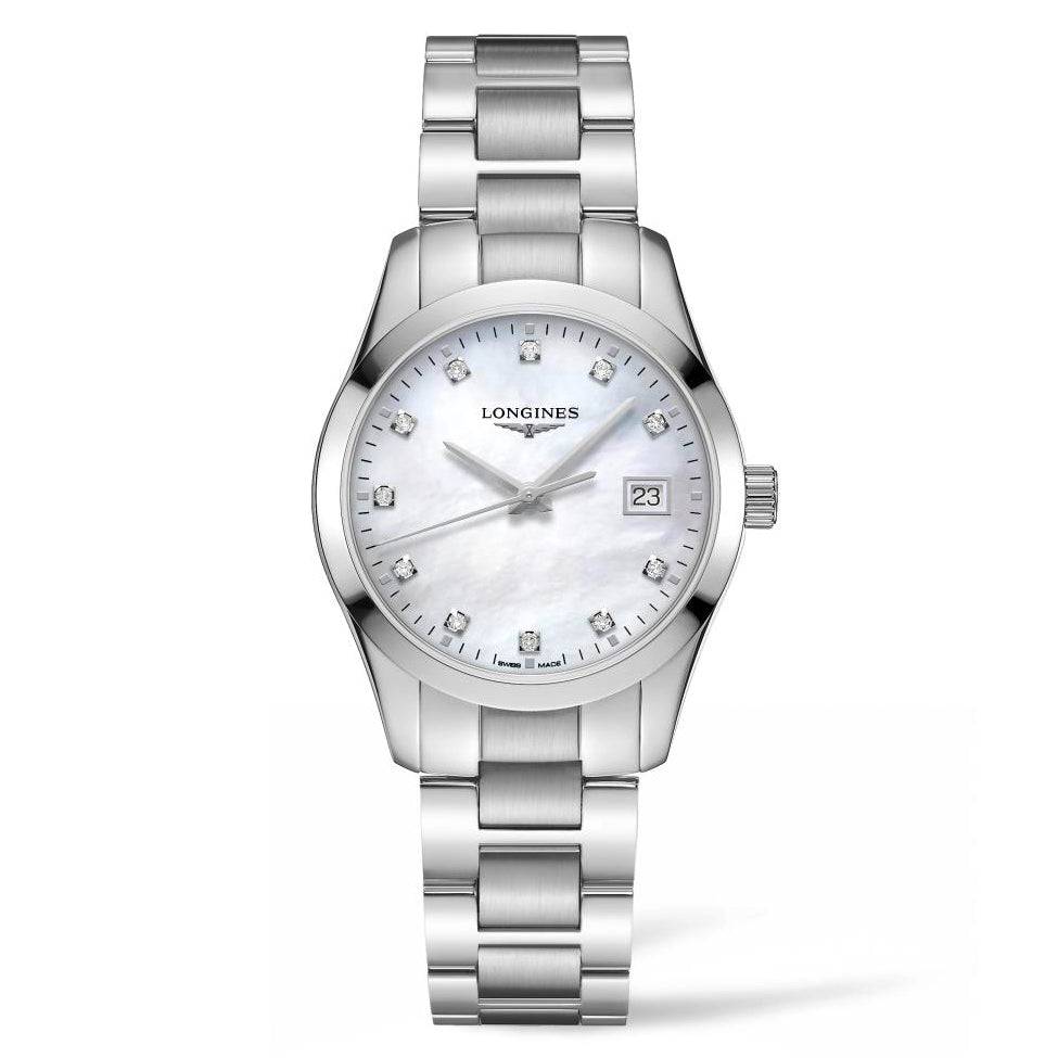 Longines Conquest Classic - Silver MOP Diamond Dial Lady's watch 32mm