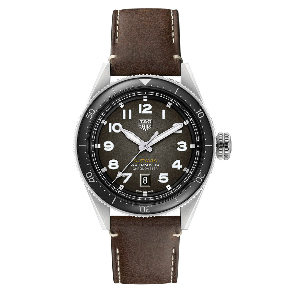 Tag Heuer - Autavia - Black Dial-Brown Leather strap 42mm watch - WBE5114.FC8266
