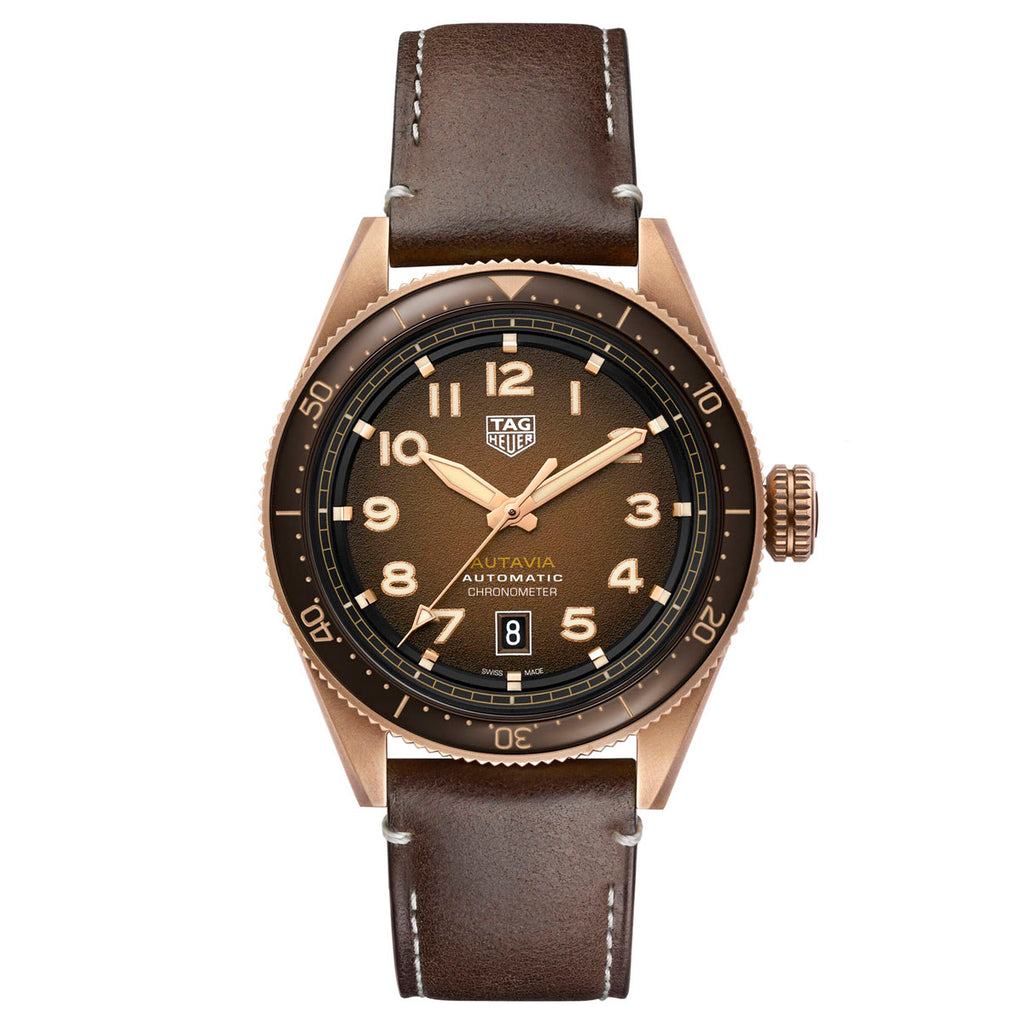 Tag Heuer - Autavia - Brown Dial-Bronze Case - Brown Leather-42mm watch- WBE5191.FC8276