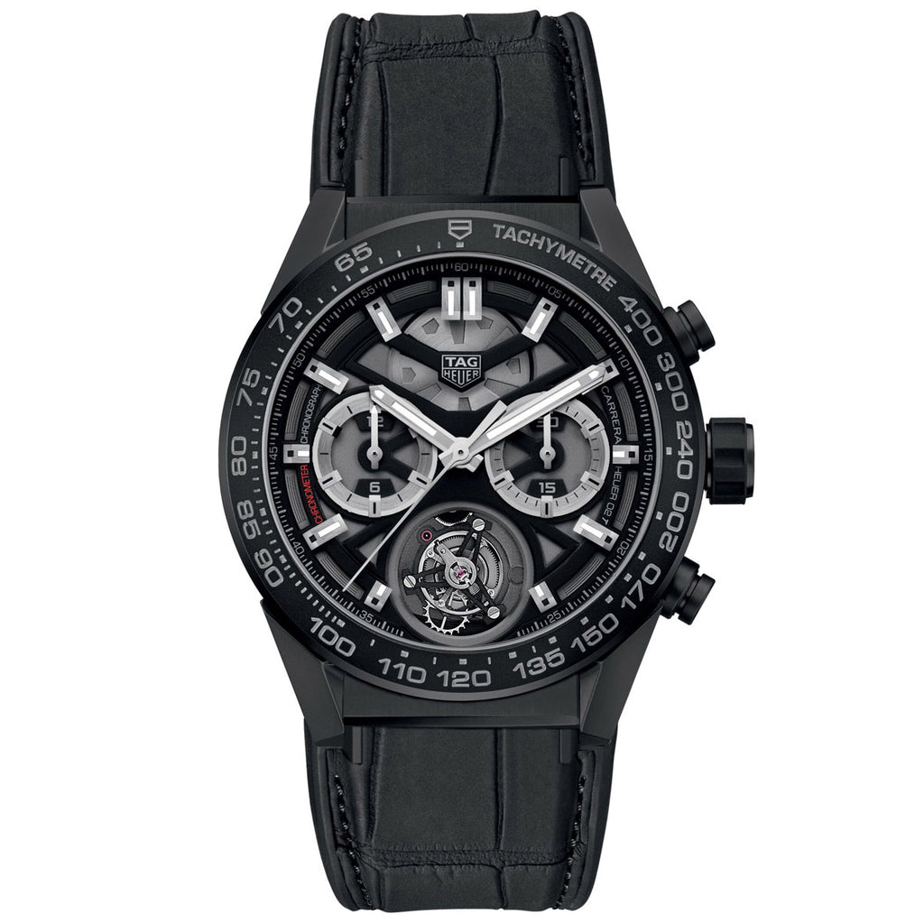 Tag Heuer - Carrera Tourbillon Automatic Chronograph - Ceramic Case - Aligator Strap - CAR5A90.FC6415