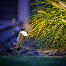 Load image into Gallery viewer, LED Spot Light 101 7W LED Landscape Light Water Resistant Brass Metal Spotlight Warm White Garden Lighting for Walls Trees Flags Security Outdoor Home Area with Spike Ground Stake and Bulb