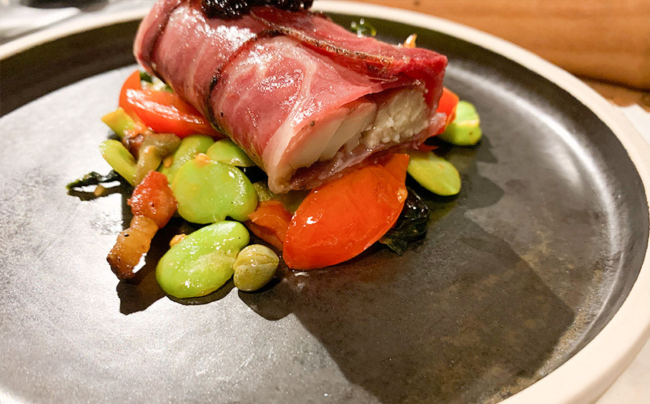 SMOKED EEL & TEMPUS SMOKED COPPA. SERVED WITH BROAD BEANS, TOMATOES AND SEAWEED