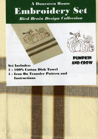 Pumpkin And Crow Dishcloth Embroidery Kit