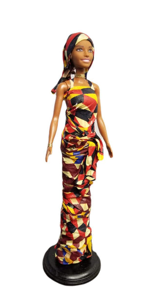 Hand-Crafted Bendu Doll In Gorgeous Multicolored Wax Lappa Dress And Headwrap - Display