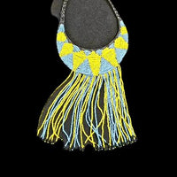 Hand-crafted Yello & Powder Blue  Beaded Necklace