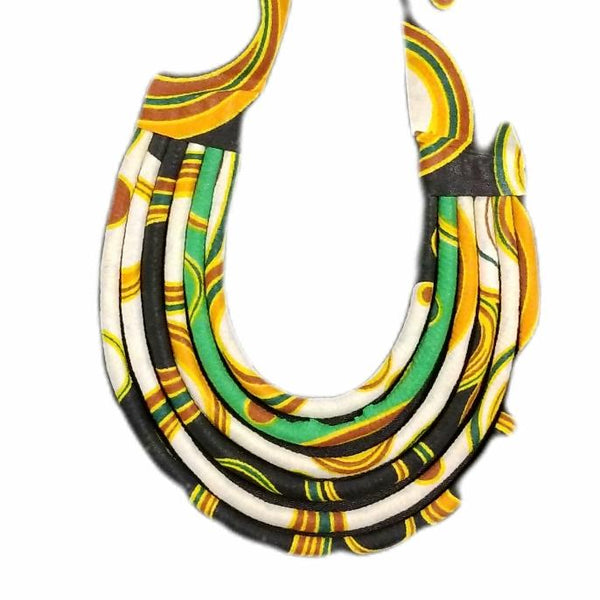 Hand-crafted Green, Black, & White Layered Fabric Necklace