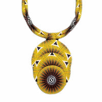 Hand-crafted Yellow & Black Triple Layered Medallion Fabric Necklace
