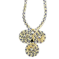 Hand-crafted Yellow Multicolored Triple Madallion Fabric Necklace