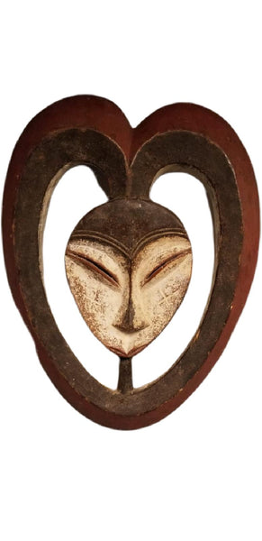 "Authentic Hand - Carved African Wood Mask - 18""h x 14""w"