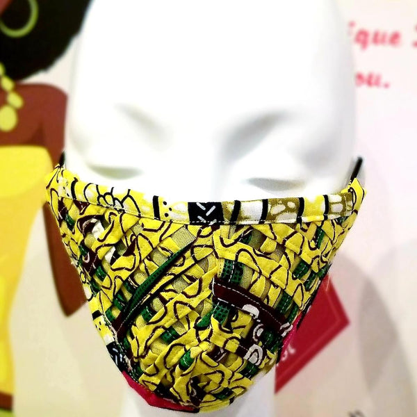 Yellow African Print Netted Facemask