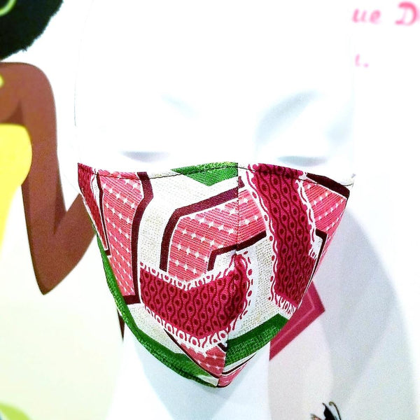 Pink And Green African Print Standard Facemask