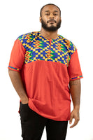 Men's Orange Free Flowing with Top Pattern Formal-Casual African Dress Shirt | MSDGB-TXBF-20657