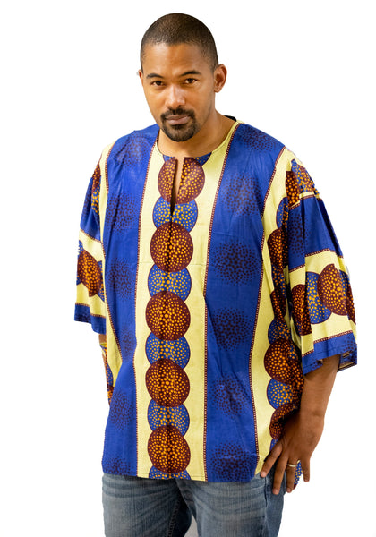 Men's Blue & Yellow Free Flowing  Formal-Casual African Dress Shirt | MSDGB-TXBF-20661