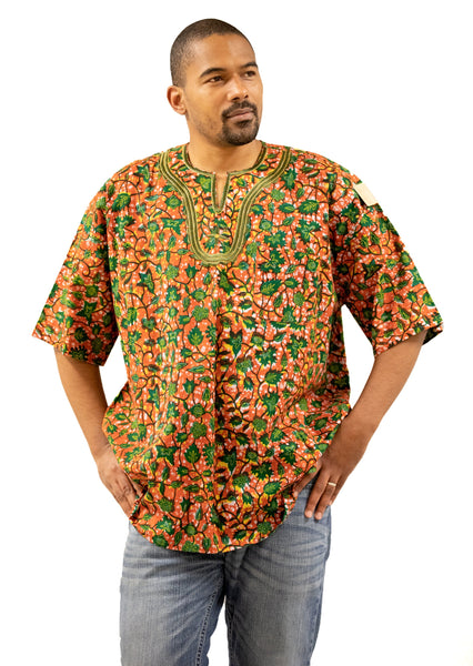 Men's Green & Orange Pattern Embroidered Short Sleeve Dress Shirt | MSDGB-TXBF-20687