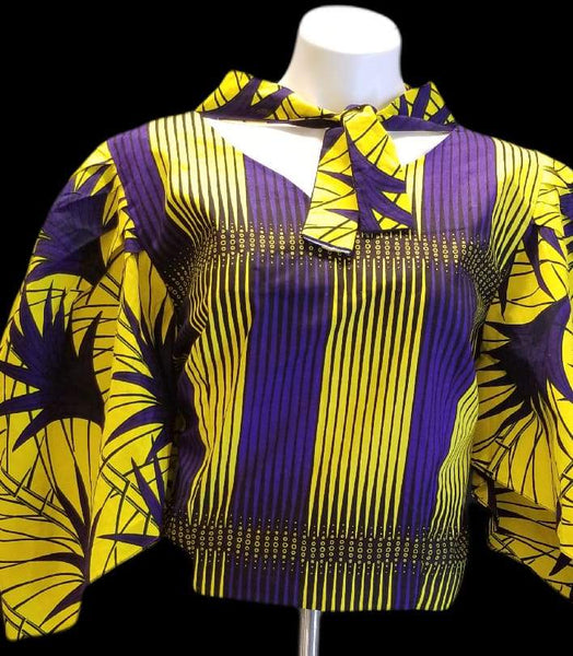 African Designer Women's Yellow & Purple Bowtie Shirt