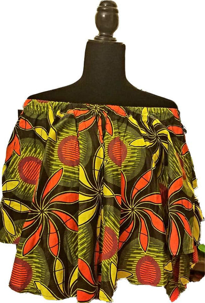 African Designer Women's Yellow, Black, & Orange Off Shoulder Shirt-with Detachable Arms