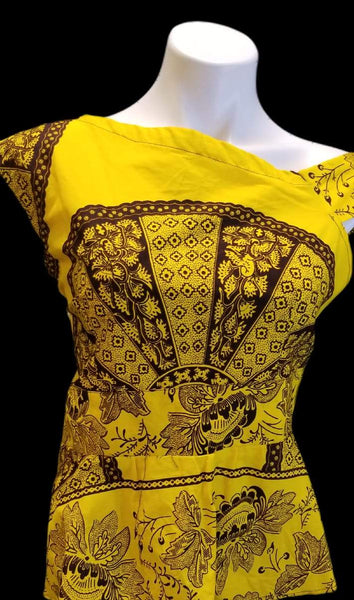 African Designer Women's Yellow & Brown Off Shoulder Shirt with Design Pattern