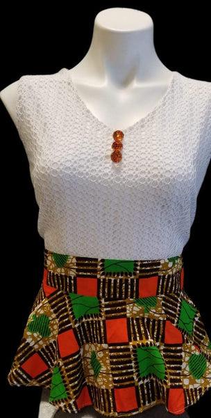African Designer Women's White, Red, & Orange Neckline, Sleeve, & Waist Peplum Crop Top