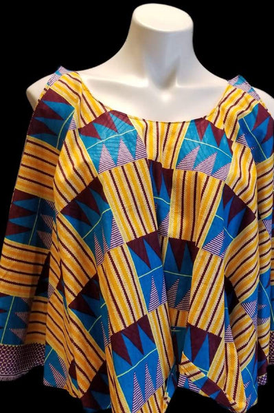 African Designer Women's Yellow & Blue Pattern Crop Top