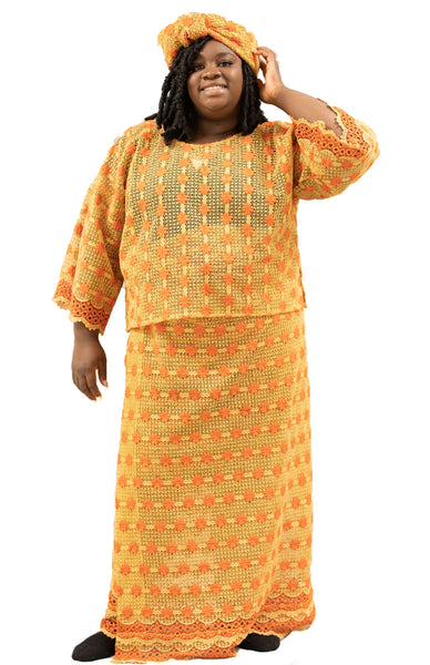 Women's Yellow 2-Piece Linen Knitted Dress with Headwrap | WDRGB-2PLN-20671