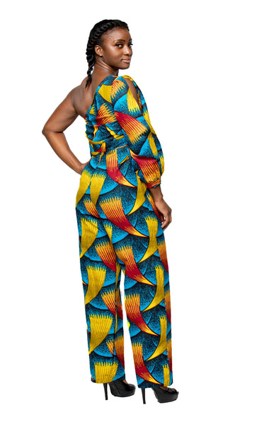 Women's Blue, Yellow, & Red Single Shoulder Jumpsuit | WDRGB-2PLN-20676