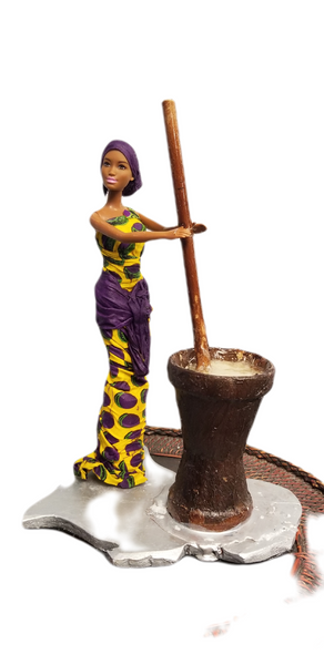 Hand-Crafted Bendu Doll In Captivating  3-Piece Lappa and Mortor on Map of Africa Display