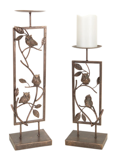Owl Candle Holder (Set of 2) 14.5