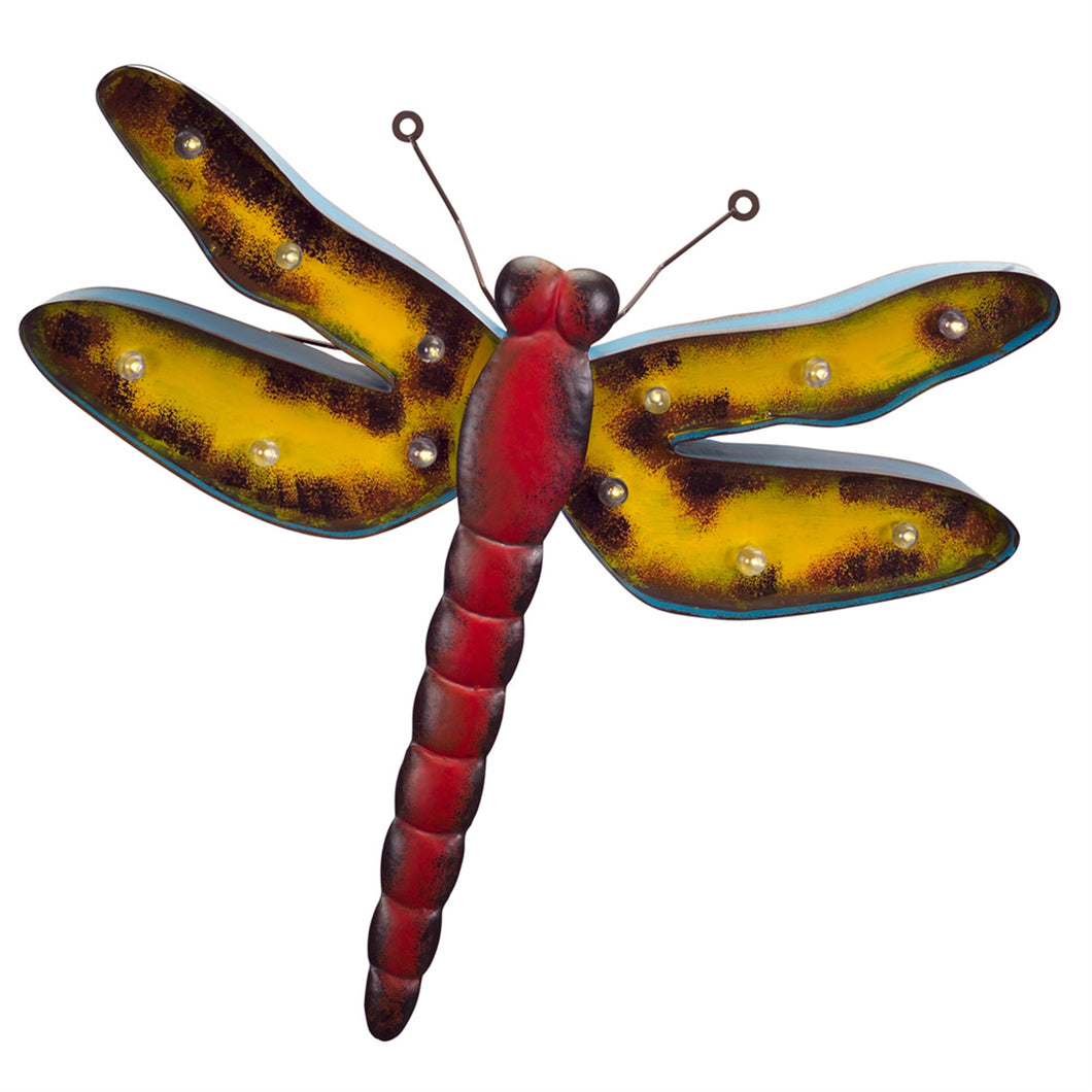 Dragonfly Wall Plaque w/LED Bulbs 19