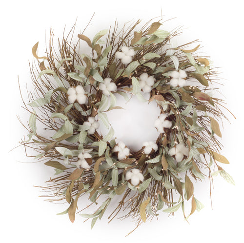 Cotton/Leaf Wreath 28