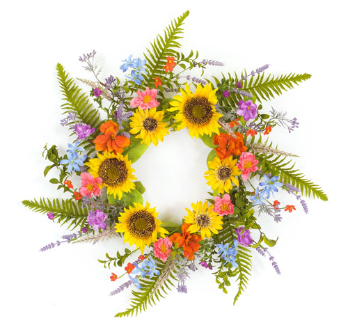 Mixed Floral/Sunflower Wreath 25