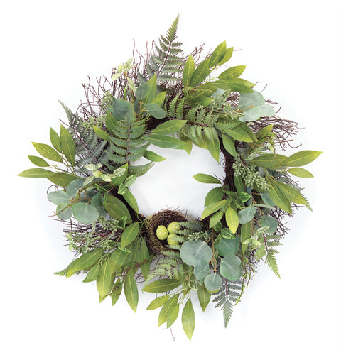 Mixed Foliage W/Nest Wreath 25