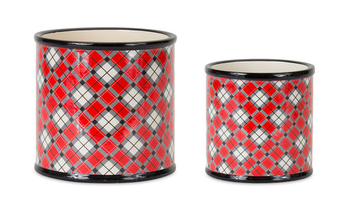 Pot w/Plaid Pattern (Set of 4) 4