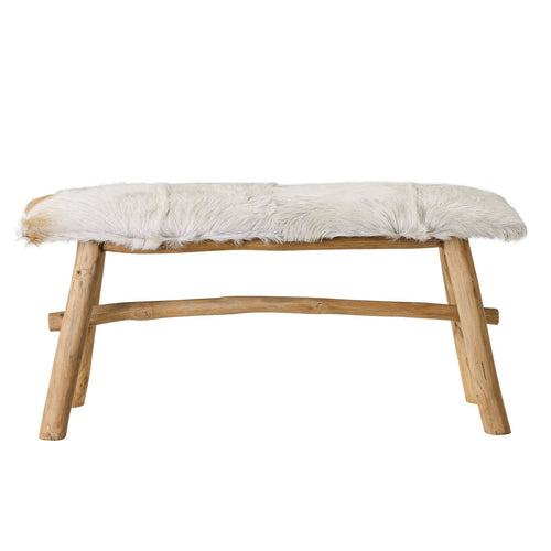 Wood Bench with Goat Fur Top