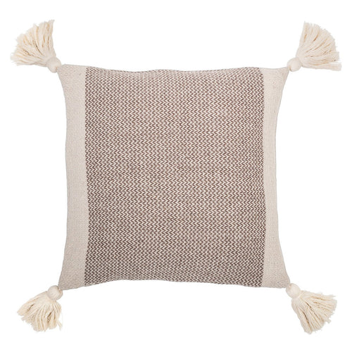 Square Brown & Cream Cotton Blend Pillow with Corner Tassels
