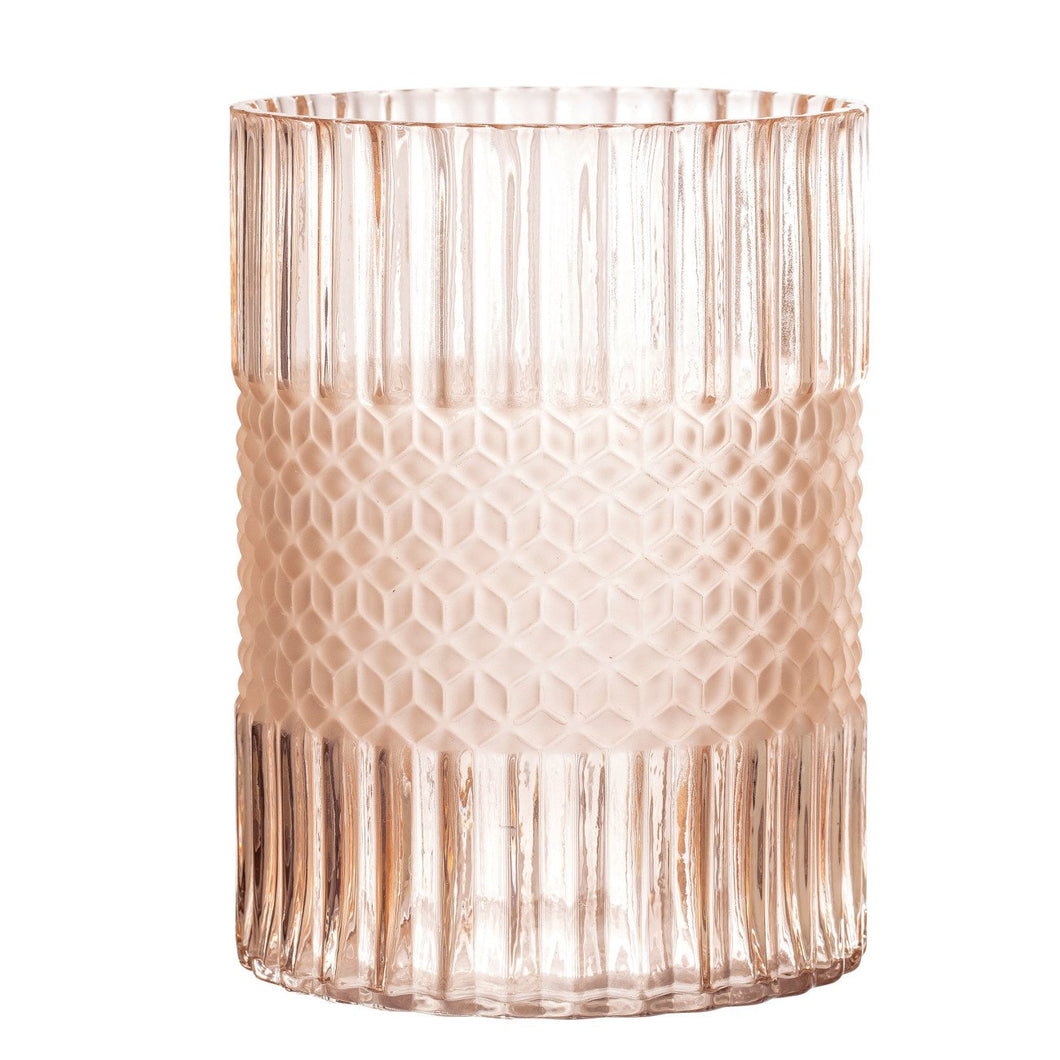 Elegant Matte Pink Embossed Glass Vase