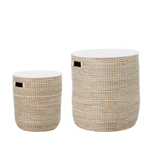 Beige Seagrass Tables with Storage & Wood Tops (Set of 2 Sizes)