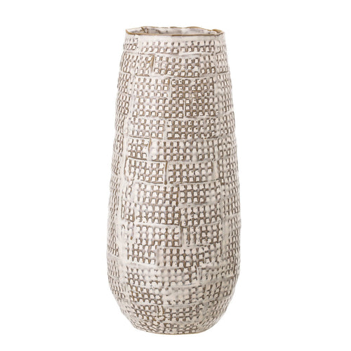 Brown Basketweave Embossed Stoneware Vase