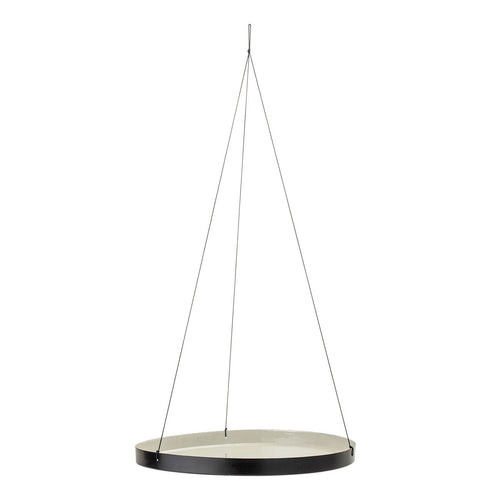 Grey Round Enameled Hanging Tray