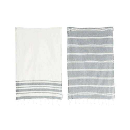 Grey & White Cotton Woven Tea Towel (Set of 2 Designs) Default Title